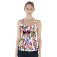 Colorful spirals on a white background              Racer Back Sports Top