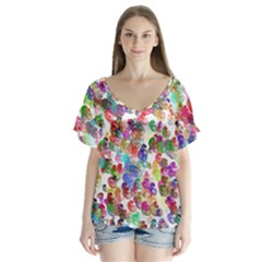 Colorful spirals on a white background            V-Neck Flutter Sleeve Top