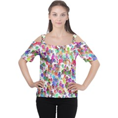 Colorful spirals on a white background             Women s Cutout Shoulder Tee