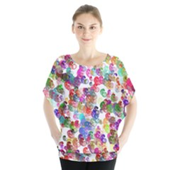 Colorful spirals on a white background                Batwing Chiffon Blouse