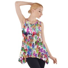 Colorful spirals on a white background             Side Drop Tank Tunic