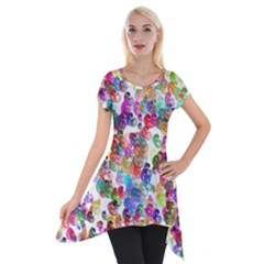 Colorful spirals on a white background             Short Sleeve Side Drop Tunic