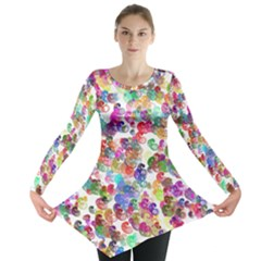 Colorful spirals on a white background             Long Sleeve Tunic