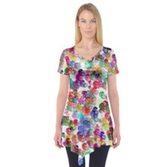Colorful spirals on a white background        Short Sleeve Tunic