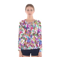 Colorful spirals on a white background             Women Long Sleeve T-shirt
