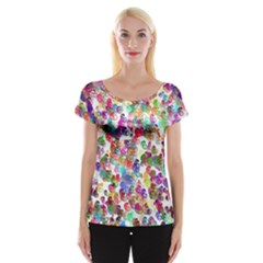 Colorful spirals on a white background             Women s Cap Sleeve Top