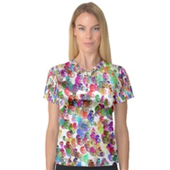 Colorful spirals on a white background             Women s V-Neck Sport Mesh Tee