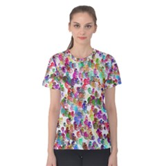 Colorful spirals on a white background             Women s Cotton Tee