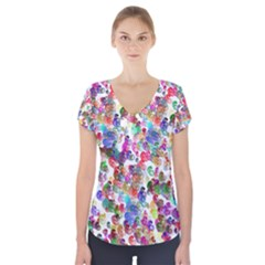 Colorful spirals on a white background                Short Sleeve Front Detail Top