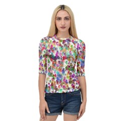 Colorful spirals on a white background       Women s Quarter Sleeve Raglan Tee