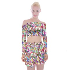 Colorful spirals on a white background                Off Shoulder Top with Skirt Set