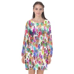 Colorful spirals on a white background       Long Sleeve Chiffon Shift Dress