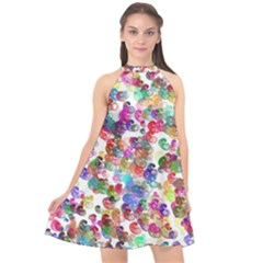 Colorful spirals on a white background            Halter Neckline Chiffon Dress