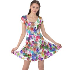 Colorful spirals on a white background            Cap Sleeve Dress