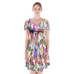 Colorful spirals on a white background                 Short Sleeve V-neck Flare Dress
