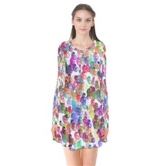Colorful spirals on a white background            Long Sleeve V-neck Flare Dress