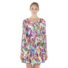 Colorful spirals on a white background        Long Sleeve Velvet V-neck Dress