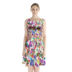 Colorful spirals on a white background                 Sleeveless Waist Tie Dress
