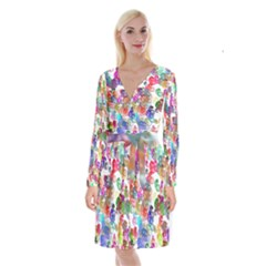 Colorful spirals on a white background                 Long Sleeve Velvet Front Wrap Dress