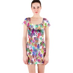 Colorful spirals on a white background             Short sleeve Bodycon dress