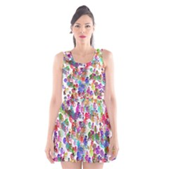 Colorful spirals on a white background        Scoop Neck Skater Dress