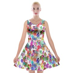 Colorful spirals on a white background        Velvet Skater Dress
