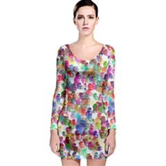 Colorful spirals on a white background             Long Sleeve Bodycon Dress