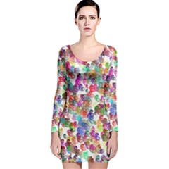 Colorful spirals on a white background             Long Sleeve Velvet Bodycon Dress