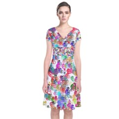 Colorful spirals on a white background        Short Sleeve Front Wrap Dress