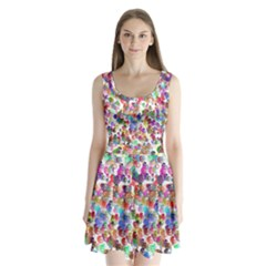 Colorful spirals on a white background       Split Back Mini Dress