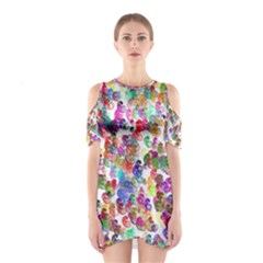 Colorful spirals on a white background             Women s Cutout Shoulder Dress