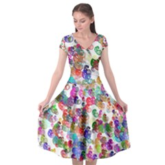 Colorful spirals on a white background   Cap Sleeve Wrap Front Dress