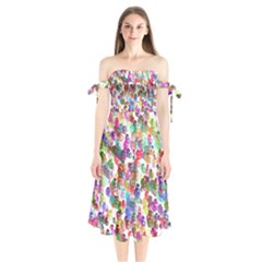 Colorful spirals on a white background  Shoulder Tie Bardot Midi Dress