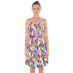 Colorful spirals on a white background   Ruffle Detail Chiffon Dress