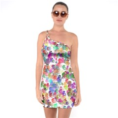 Colorful spirals on a white background  One Shoulder Ring Trim Bodycon Dress