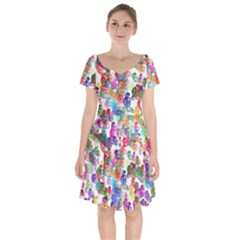 Colorful spirals on a white background               Short Sleeve Bardot Dress