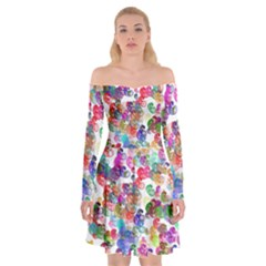 Colorful spirals on a white background    Off Shoulder Skater Dress
