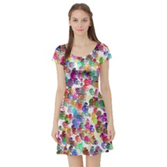 Colorful spirals on a white background             Short Sleeve Skater Dress