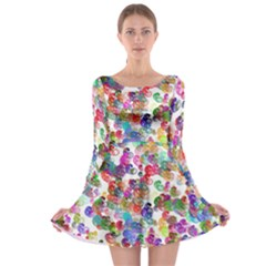 Colorful spirals on a white background             Long Sleeve Skater Dress