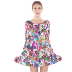 Colorful spirals on a white background             Long Sleeve Velvet Skater Dress