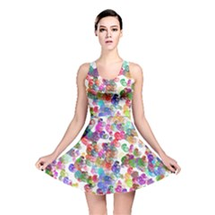 Colorful spirals on a white background             Reversible Skater Dress