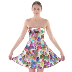 Colorful spirals on a white background             Strapless Bra Top Dress