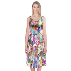 Colorful spirals on a white background       Midi Sleeveless Dress