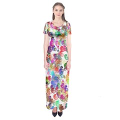 Colorful spirals on a white background        Short Sleeve Maxi Dress