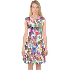 Colorful spirals on a white background             Capsleeve Midi Dress
