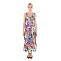 Colorful spirals on a white background             Full Print Maxi Dress