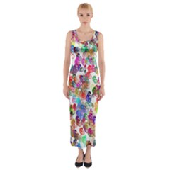 Colorful spirals on a white background             Fitted Maxi Dress