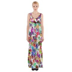 Colorful spirals on a white background             Maxi Thigh Split Dress