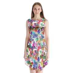 Colorful spirals on a white background        Sleeveless Chiffon Dress