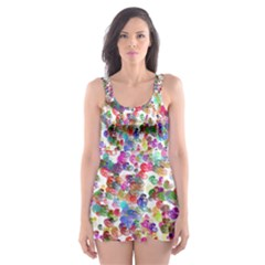 Colorful spirals on a white background             Skater Dress Swimsuit